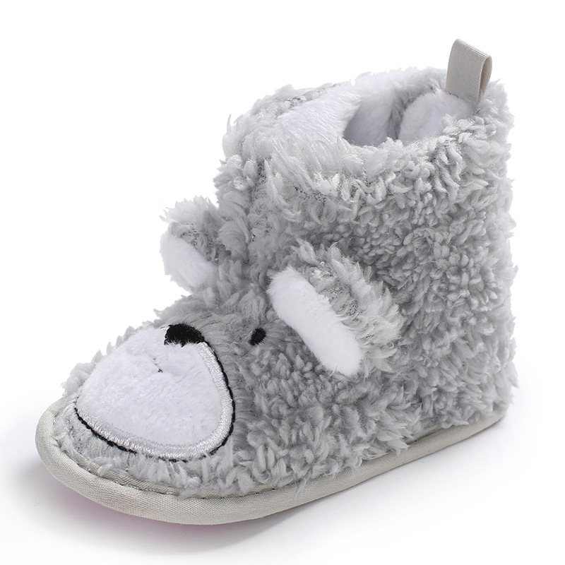 For Winter Fashion Animal Style Baby Snow Boots Worm Fleece Baby Soft Sole Boots Gray Color Baby Boys Girls Booties