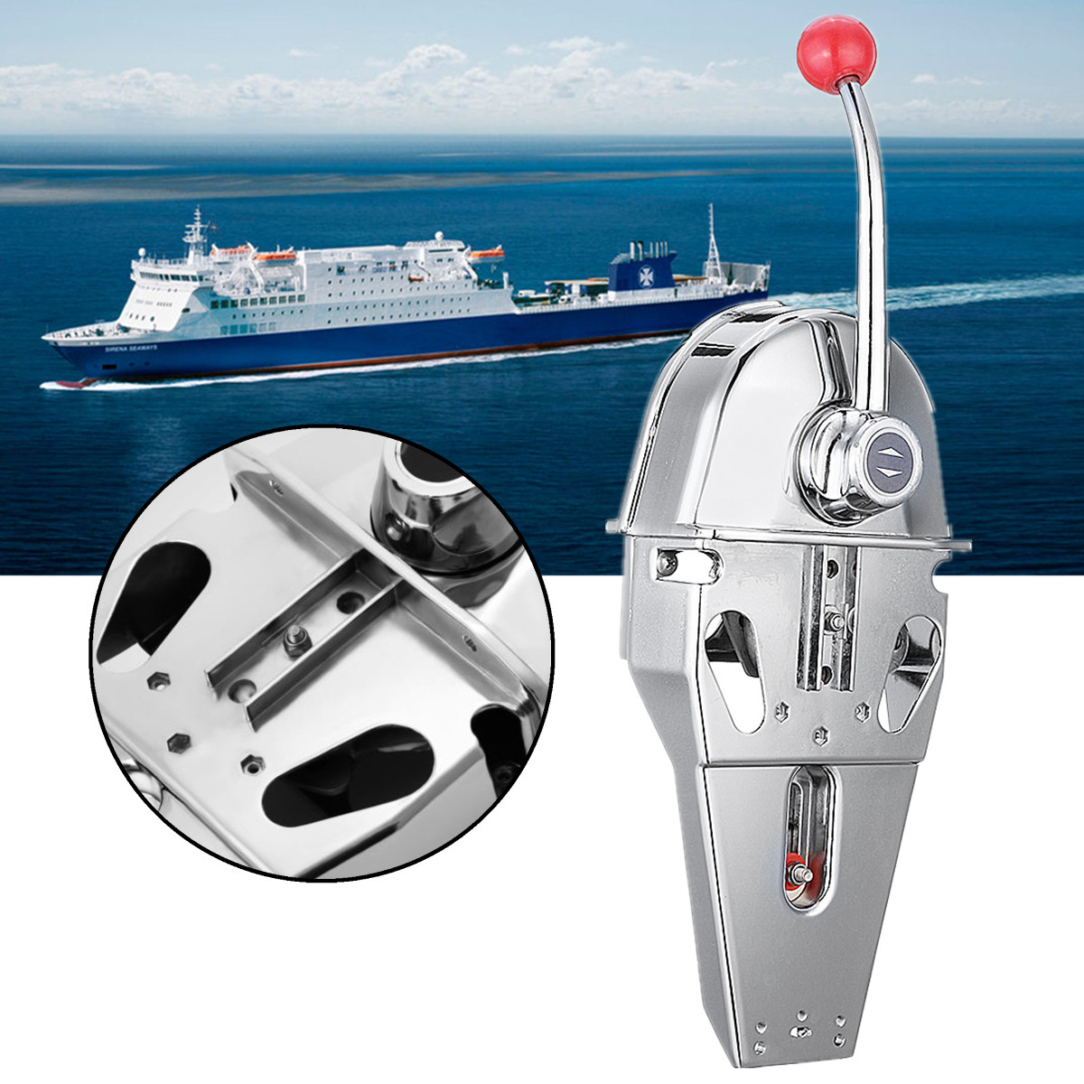 316 Stainless Steel Handle Engine Control Box Top Mount Marine Boat Single Lever Dual Action Built-in Friction 45.5x15x12cm316 Stainless Steel Handle Engine Control Box Top Mount Marine Boat Single Lever Dual Action Built-in Friction 45.5x15x12cm