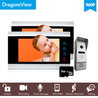 Dragonsview 7 HD Video Door Phone 2 Monitors Wired Home Intercom System Video Door Station with Doorbell Camera 960P Message