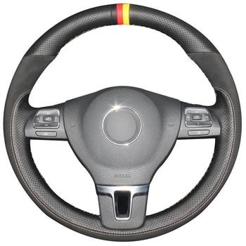 Black Natural Leather Black Suede Car Steering Wheel Cover for Volkswagen VW Gol Tiguan Passat B7 Passat CC Touran Jetta Mk6