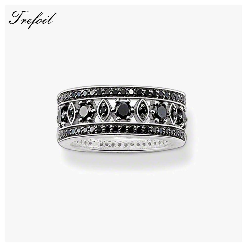 Intellektuell Schwarz Cz Ornament Hochzeit Bands Ringe, 925 Sterling Silber Zirkon Pflastern Modeschmuck Trendy Geschenk Für Frauen Und Männer Allianz