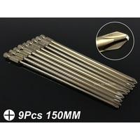 9Pcs Set 150MM Magnetic Phillips/Cross Head Screwdriver Bits 1/4 Hex Shank S2 Electric Screwdriver Bits Power Hand Tools