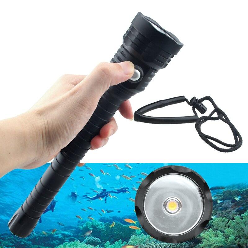 4000lm Super luminosité plongée lampe de poche XHP70 puce LED blanc plongée lumière tactique 18650 torche sous-marine 100 M étanche IP88