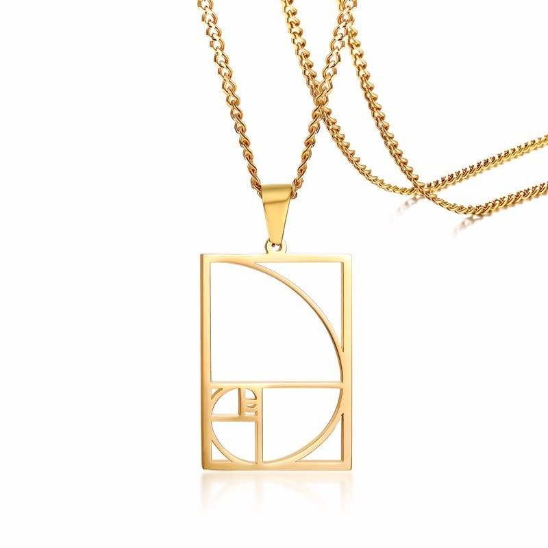 Women <font><b>Fibonacci</b></font> Golden Ratio <font><b>Spiral</b></font> Circle Triangle Golden Proportion Pendant Necklace in Stainless Steel image