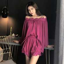 2019 Spring Summer Sleep Lounge Pajamas Set Sexy Cotton Nightwear Sleepwear Women Pyjama Femme Lace For Pijama
