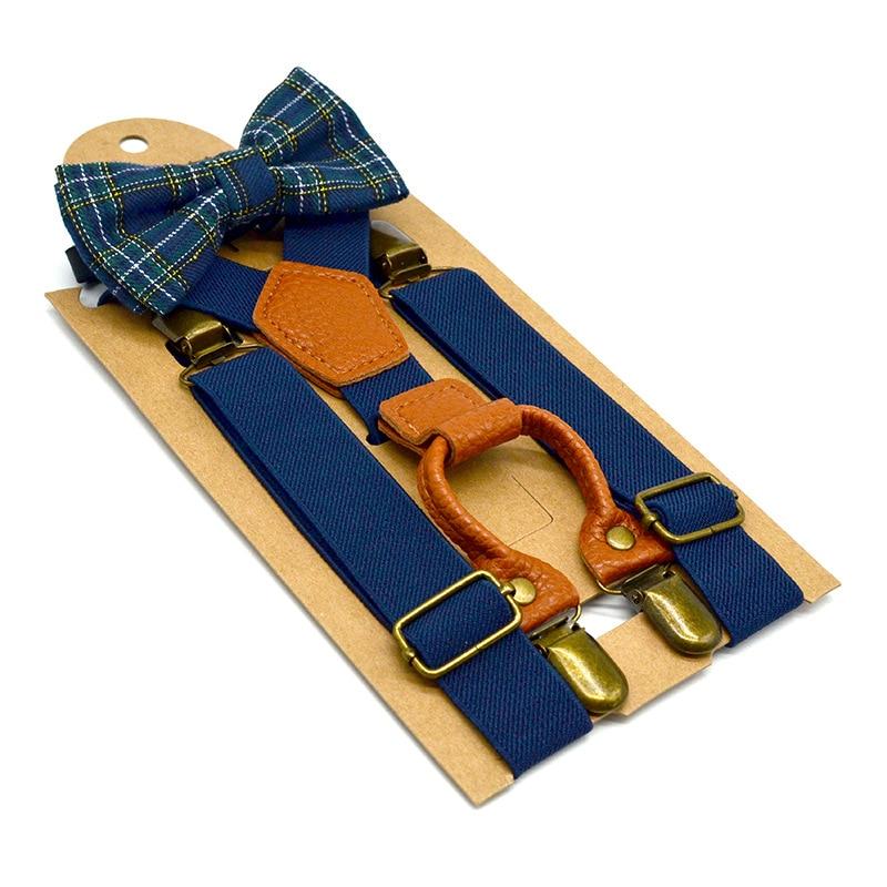 Children's British Style Solid Color Strap Clip Bow Tie Set Elastic Elastic Strap 4 Clip Hanging Pants Clip