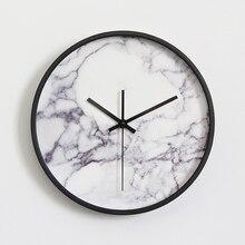 Мраморный узор настенные часы модный Vogue Европейский роскошный уникальный круглый бесшумный кварцевый игла настенные часы для декора