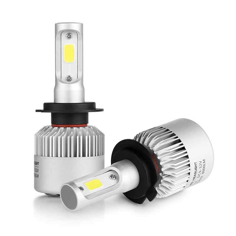 Onever 2pcs Car LED Headlight 8000LM High Brightness Cold White Light Source 6500K IP65 Waterproof Day Running Light H7