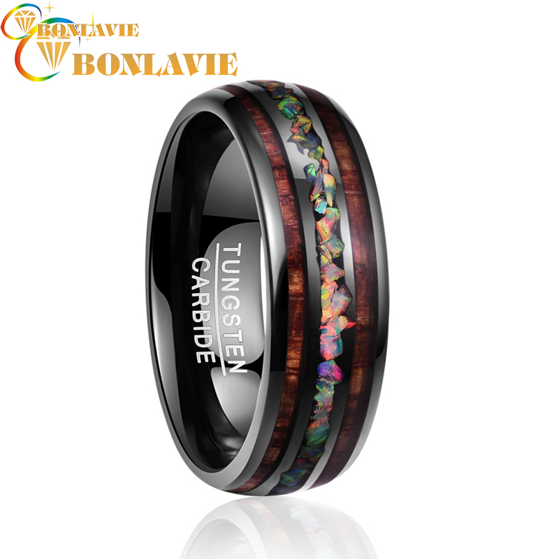 2018 vintage Dome Black Acacia Wood Opal colorful Tungsten Ring for women Engagement Wedding Jewelry ring size 7 12|Rings| |  - title=