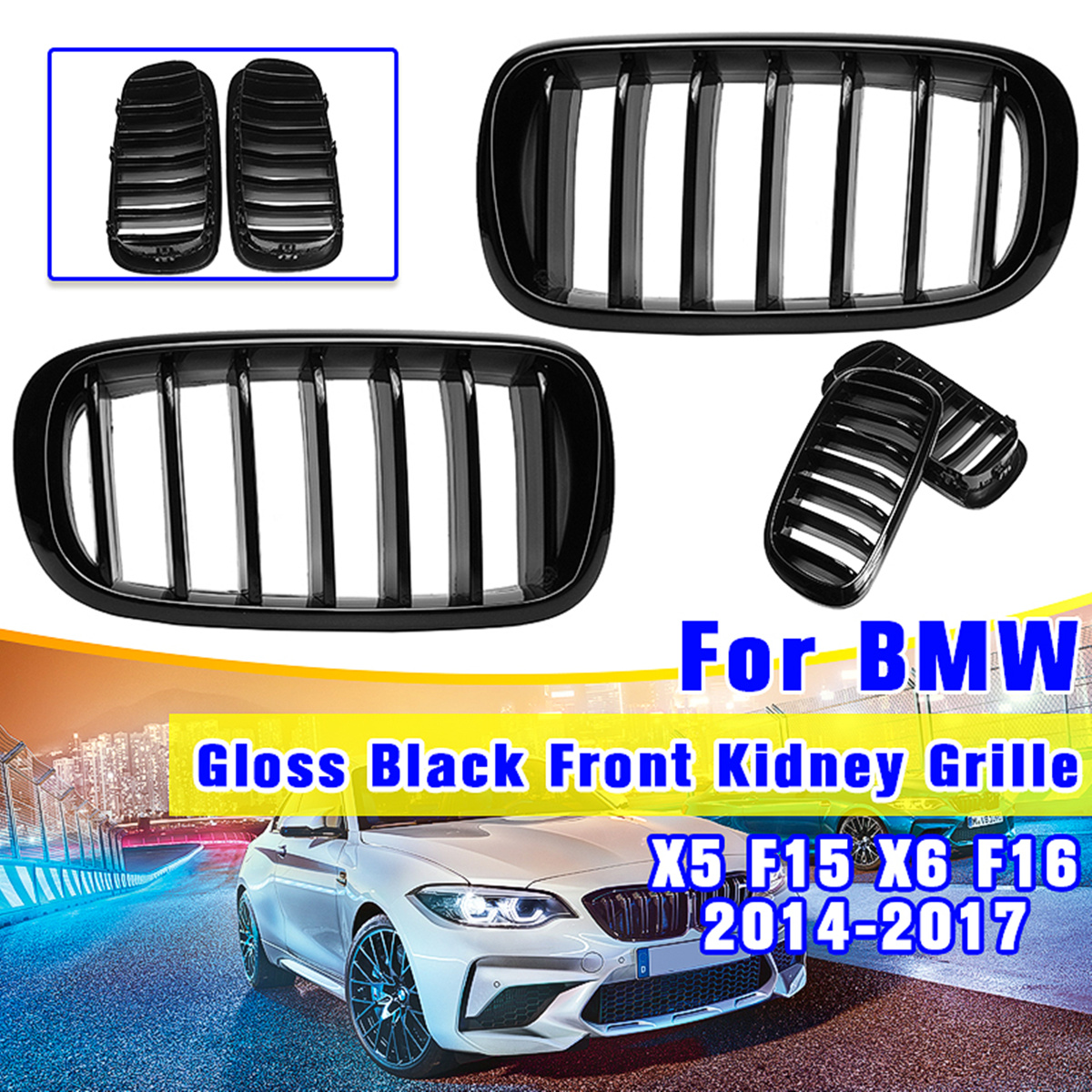 For BMW F15 F16 X5 X6 2014-2018 1 Pair New ABS Replacement Gloss Matte Black 2 Double Slat Line Front Kidney Sport Grill GrilleFor BMW F15 F16 X5 X6 2014-2018 1 Pair New ABS Replacement Gloss Matte Black 2 Double Slat Line Front Kidney Sport Grill Grille