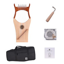 WH01 10 String Wooden Lyre Harp Nylon Strings Rosewood Topboard Rubber Wood Backboard String Instrument with Carry Bag