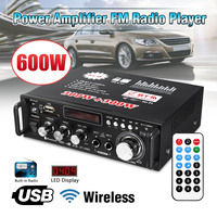 600W DC12V HIFI Car Amplifier Audio Stereo Power Amplifier bluetooth FM Radio 2CH 220V Home Theater Amplifiers Music Player