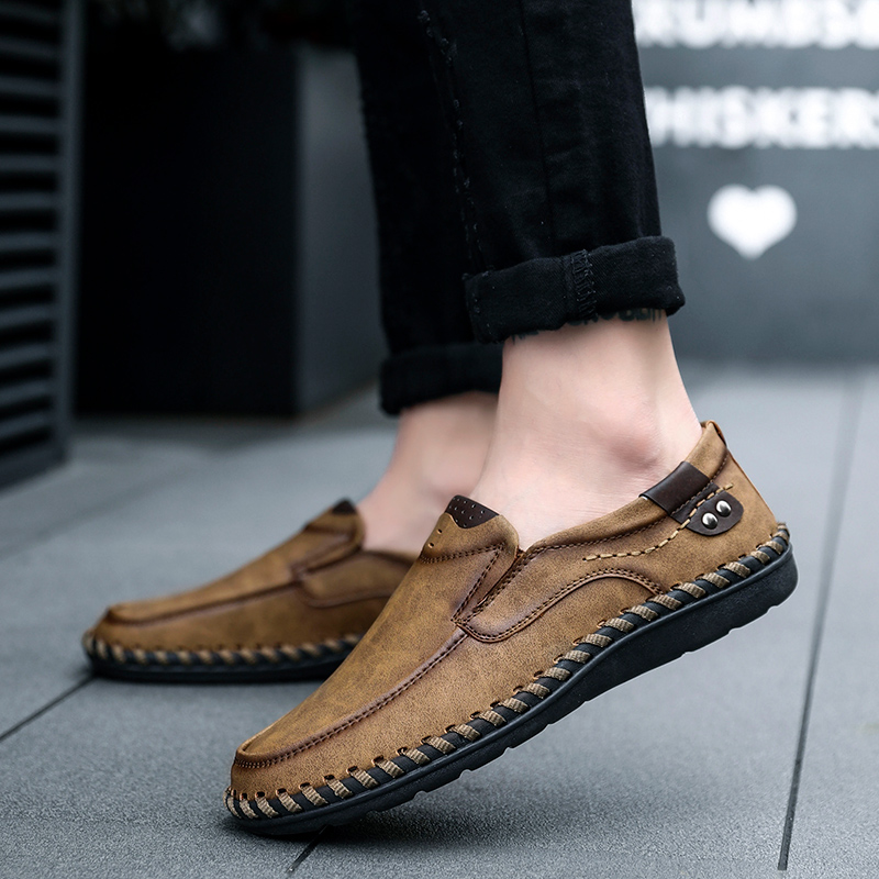 Men Genuine Leather Loafers Shoes Cow Leather Loafers Round Head Breathable Solid Business Casual Shoes Set Of Feet Rubber Shoes Quality First Men's Shoes