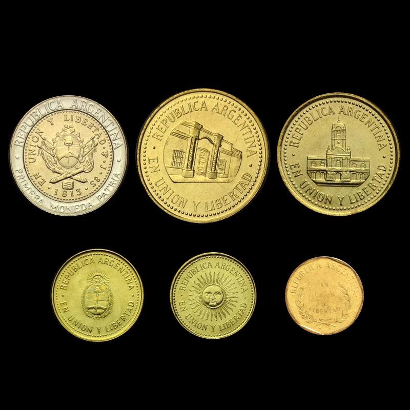 1 centavo 1 peso 1992-2013 UNC Argentina set of 6 coins