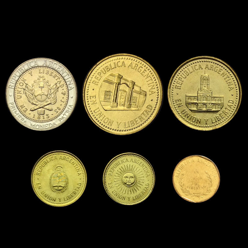 Money Set:  5 1 6 Coins from Argentina 10 50 Centavos 25 2 Pesos Old Collectible Argentinean Currency Since 1992