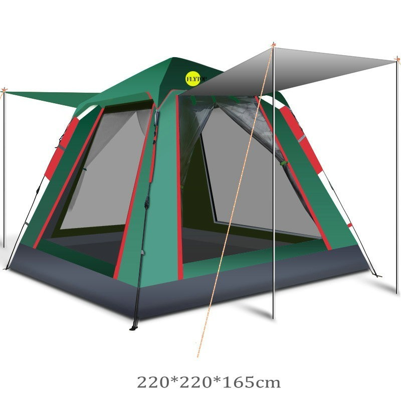 FLYTOP 3 4 Person Quick Automatic Opening Camping Tent Easy Setup Pop Up Big Family Tent