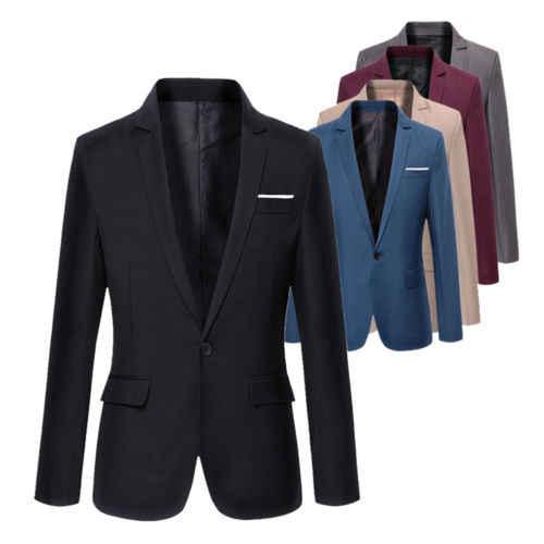 2019 S-4XL Для мужчин; формальный прилегающий формальный одна кнопка костюм с длинным рукавом блейзер с вырезом Смешанный хлопок куртка Топ