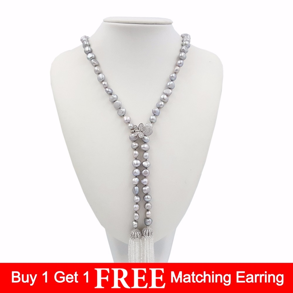 LiiJi Unique Gray Freshwater Baroque Pearl8 9mm White Crystal 2mm Beads Cubic Zirconia CROWN Long Tassels