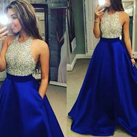 Vestido Longo Royal Blue Long Prom Dress 2019 Gorgeous Ball Gown Scoop Crystal Top Prom Dresses Robe De Soiree With Pocket
