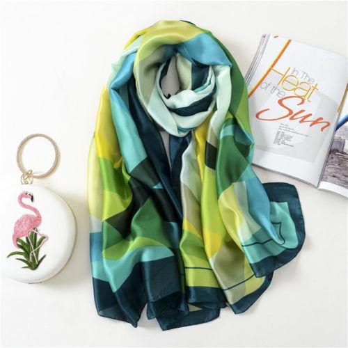 Fashion Women's Print Satin Silk Rectangular   Scarf     Wrap   Ms. Shawl Beach   Scarf   Shawl