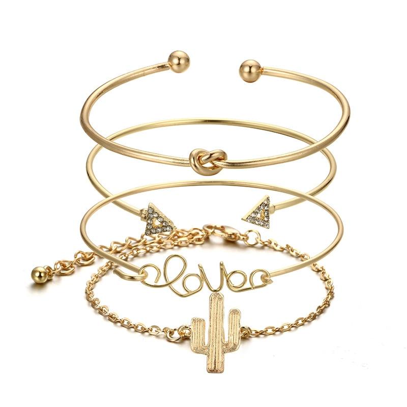 RINHOO 4pcs 1set Gold Color Cactus Letter Knot Bracelet Bohemian Geometric Metal Chain Bracelet Statement Jewelry 6116 in Charm Bracelets from Jewelry Accessories