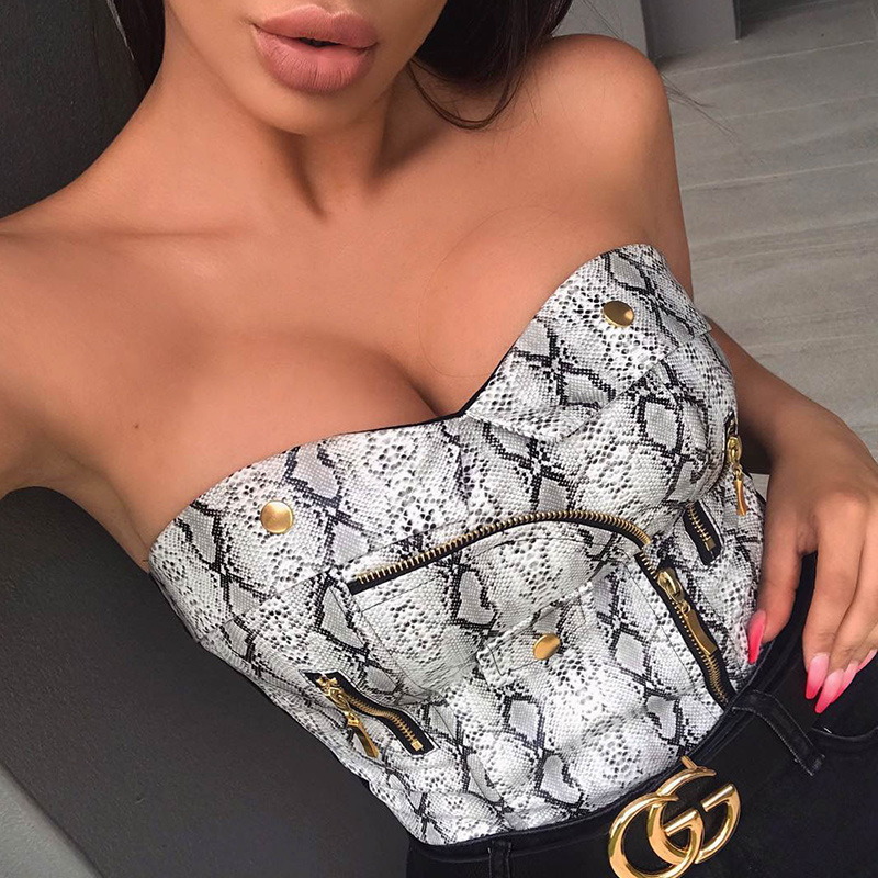 Sleeveless Snake Print Sexy Crop Tops Women Strapless Bodycon Tank Top Female Club Zipper PU Leather Backless Short Tube Top
