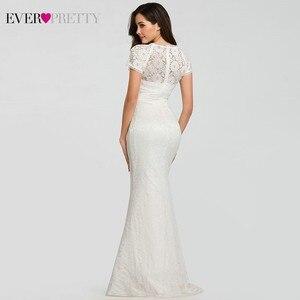 Image 2 - Кружевные свадебные платья с длинным рукавом и круглым вырезом, с аппликацией в виде русалки, сексуальные торжественные Свадебные платья EZ07802WH Robes De Mariee