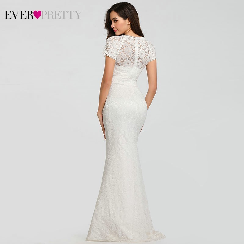 Lace Wedding Dresses Long Ever Pretty O-Neck Mermaid Appliques Cap Sleeve Sexy Formal Wedding Dresses EZ07802WH Robes De Mariee