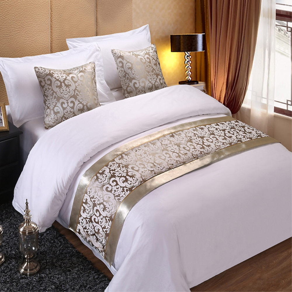 Champagne Floral Bedspreads Bed Runner Throw Bedding Single Queen King Bed Cover Towel Home Hotel Decorations5