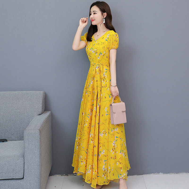 Elegant Floral Print Women Dress V Neck Short Sleeve Chiffon Party Vestidos Spring Summer Casual Plus Size Sundress in Dresses from Women 39 s Clothing