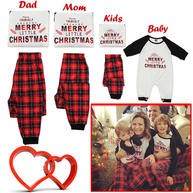 c49f6d72874f PUDCOCO Family Matching Christmas Pajamas Set Tee Pants Rompers Adult Women  Kids Sleepwear Nightwear Casual Cotton Clothes
