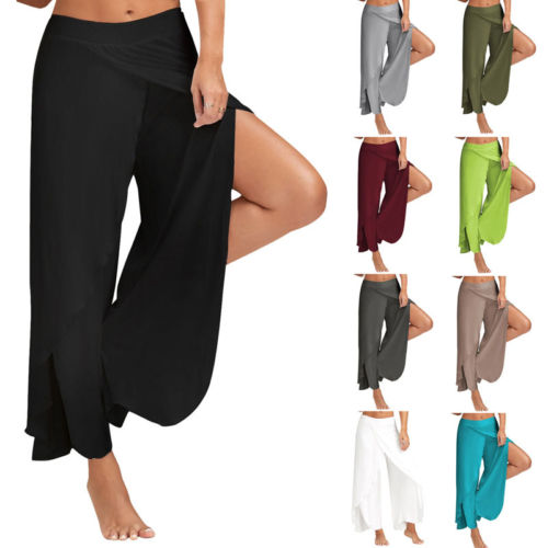 New Fashion Women Summer Casual High Waist   Wide     Leg   Long Split   Pants     Wide     Leg     Pants   Solid Color Loose Stretch Palazzo Trousers