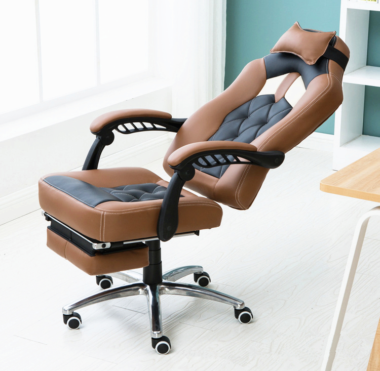 Super Soft Fashion Simple Modern Office Computer Chair Multifunctional Leisure Lying Lifting Boss Swivel Chair With Footrest