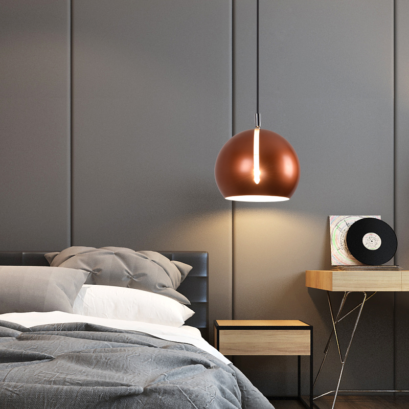 US $100.05 13% OFF|Europe Hanging Lights Creative Personality Round Led  Lamp Modern Simple Bedroom bedside lamp Dining Room E27 Pendant Light-in ...