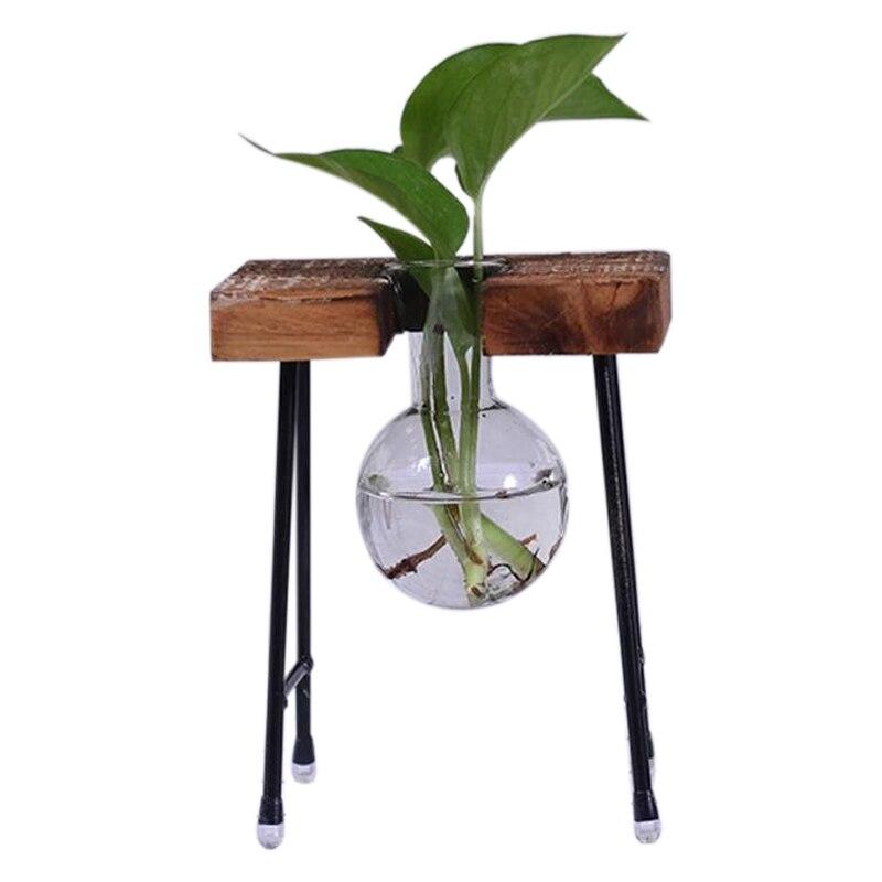 Modische Transparent Glas Vase mit Holz & Eisen Stehen für Wasser Pflanzen Dekoration Geschenk