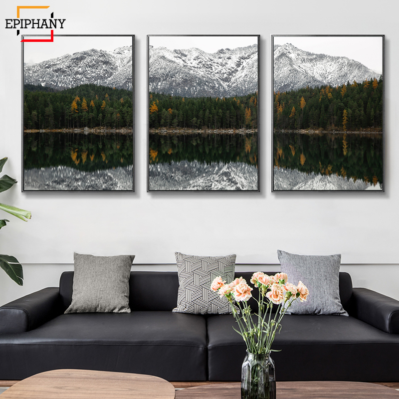Scandinavia Lake Print Reflection Panorama Canvas Work Posters and Prints Wall Artwork Photos Dwelling Room Dwelling Workplace Decor Portray & Calligraphy, Low-cost Portray & Calligraphy, Scandinavia Lake Print Reflection...