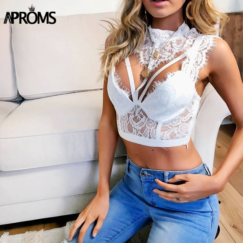 Aproms Sexy Black Open Back Hollow Out Cami Women Lace Crochet Crop   Top   Cool Girls Turtleneck Club Party Camisole   Tank     Tops   Tees