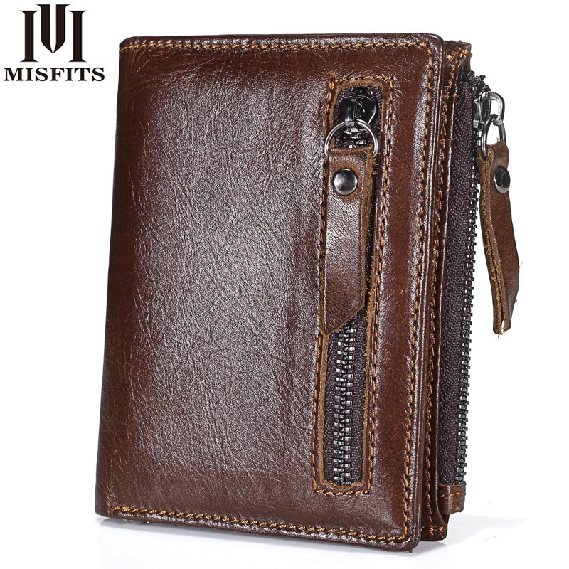 2018 New Genuine Leather Mens Wallet Man zipper Short Coin Purse Brand Male Cowhide Credit id