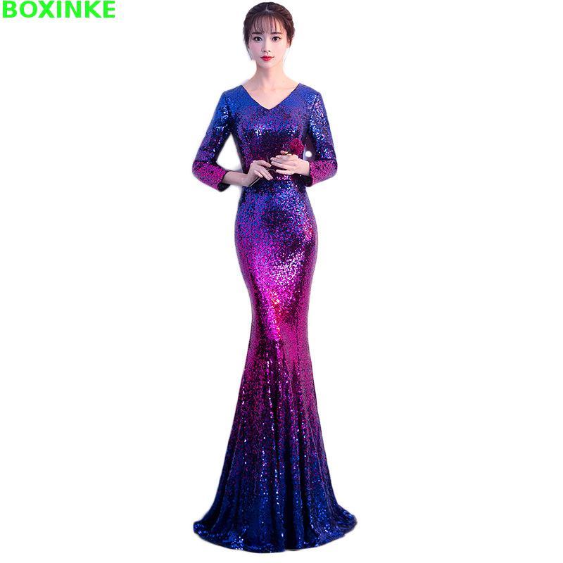 2018 Zanzea L'ukraine Empire grande taille tenue de fête robe pour femmes Noble, Élégant Et Sexy En Queue de poisson Pour 2009 Nouveau Sequin Banquet
