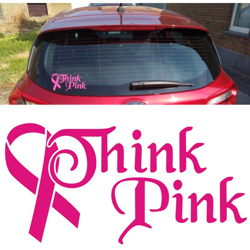 Think Pink Breast Cancer Ribbon Car Decals for Women Pink Girl Breast  Cancer Awareness Pink Ribbon Vinyl Car Decals and Stickers