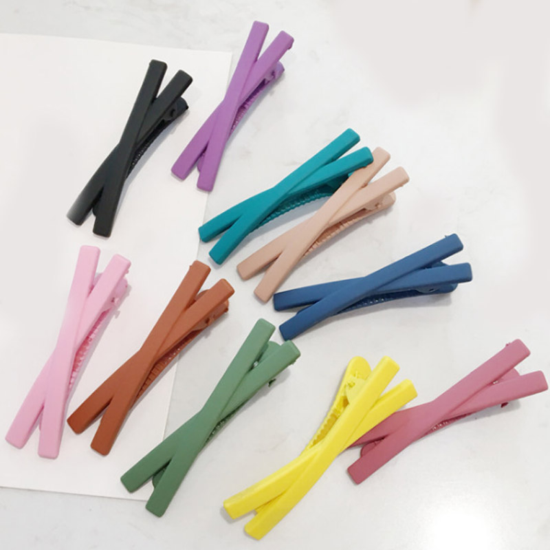 Hot Sale 1PC Cross Hair Clip Unique Women Girls Candy Color Korean Hair Pins   Headwear