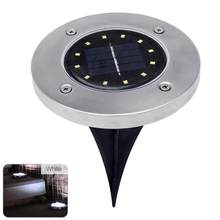 [Ready Stock]12 LED Solar Power Buried Light Ground Lamp Outdoor Path Way Garden Underground Lamps Dropshipping Support(China)