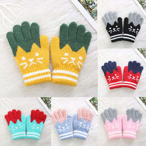 Gloves Knitted Children Cartoon Splice Warm Winter New Kid Cat Girl Magic Stretchy