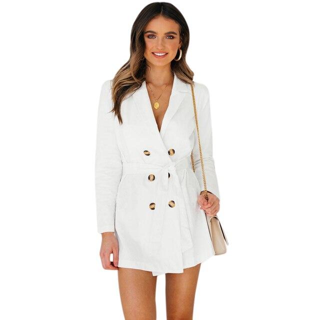 aefcad28aa Mujeres elegante encaje dividida chaqueta mujer doble Breasted vestido de  chaqueta de oficina vestido Slim blanco
