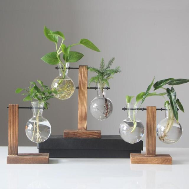 Plant Glass Vases Transparent Vase Wooden Stand Flower Pot for Flower Plants Bonsai Home Desk Wedding Decoration 6