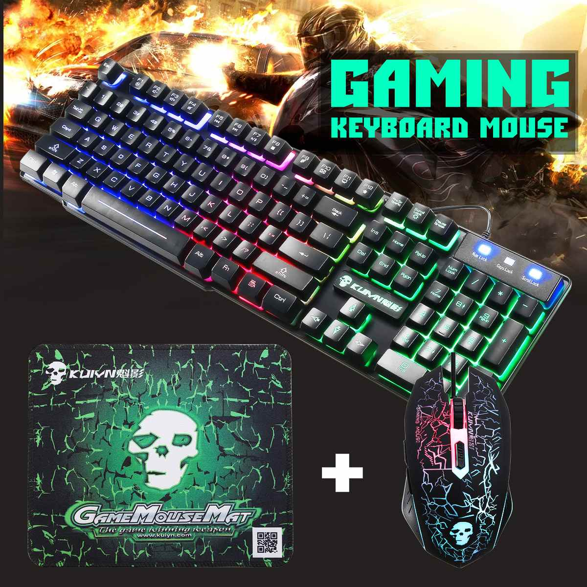 Colorful Backlight USB Wired Ergonomic <font><b>Gaming</b></font> Keyboard 2400DPI LED <font><b>Gaming</b></font> Mouse Combo with Mouse Pad Set
