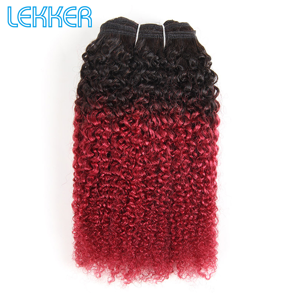 Lekker Brazilian Hair Weave Bundles Ombre Color Red Ombre Hair Bundles Afro Kinky Wave 100% Human Hair Bundles Remy Human Hair