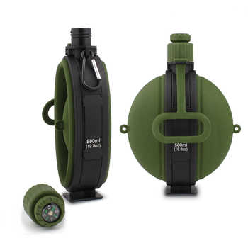 580ML Collapsible High Capacity Bike Water Bottle Portable Silicone Water Kettle With Compass Bottle Cap Cycling Travel Kettle