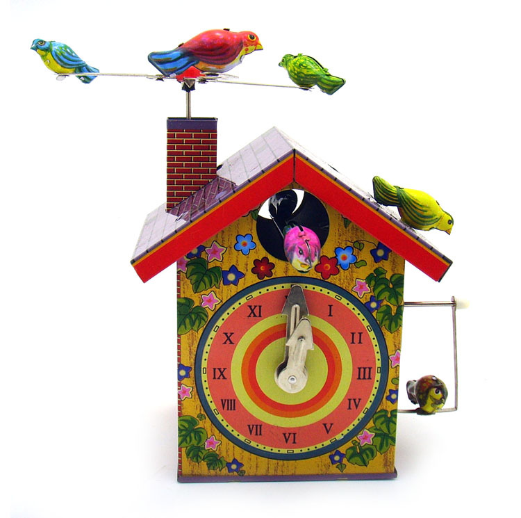 Adult Collection Retro Wind Up Toy Metal Tin Rotating Bird Alarm Clock Bird House Clockwork Toy Model Figures Gift Vintage Toys