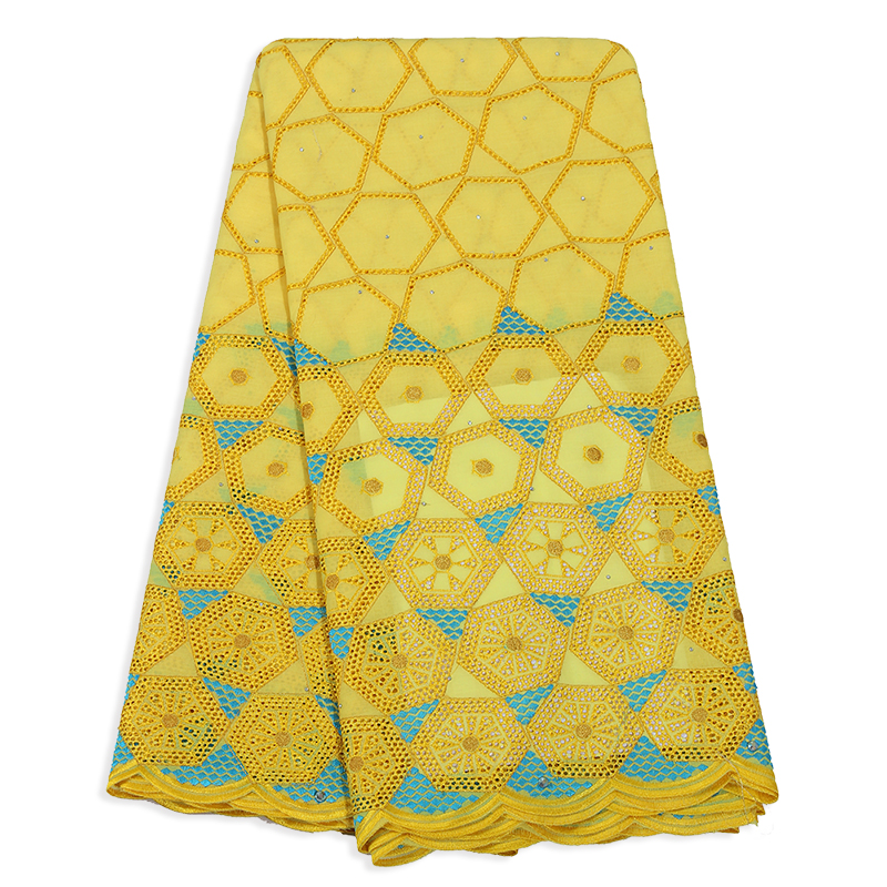 Latest 2019 High Quality Nigerian Swiss Volie In Switzerland Yellow Color Lace With Stones Afrcian Fabric